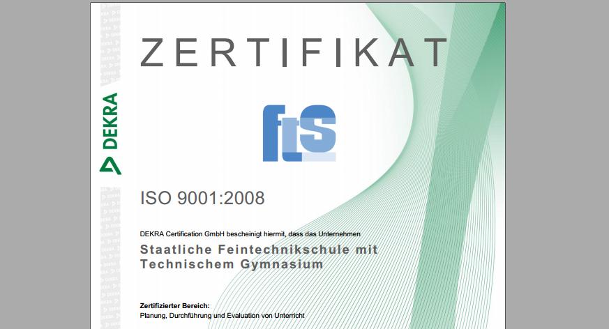 ISO-Zertifizierung erneuert   Staatliche Feintechnikschule
