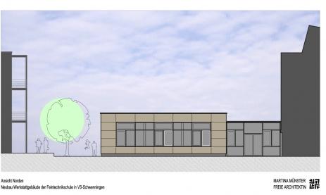 Werkstatt-Neubau; Ansicht vom Schulhof