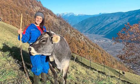 Nathalie Brunner aus Villingen lebt und arbeitet derzeit auf dem Ortlhof im Vinschgau und kümmert sich auch um neun Kühe. Foto: Schwarzwälder Bote