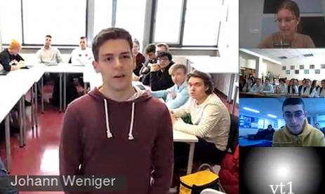 Standbild aus der Videokonferenz der Tabletklasse TGEM (Technisches Gymnasium, Eingangsklasse Profil Mechatronik) mit israelischen und ukrainischen Schülern. Im Vordergrund Michael Doser.