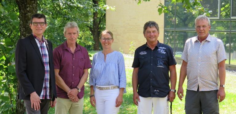 v.l.: Schulleiter Thomas Ettwein, Jürgen Kubas, Personalratsleitung Meike Buschle, Peter Jung, Werner Felten