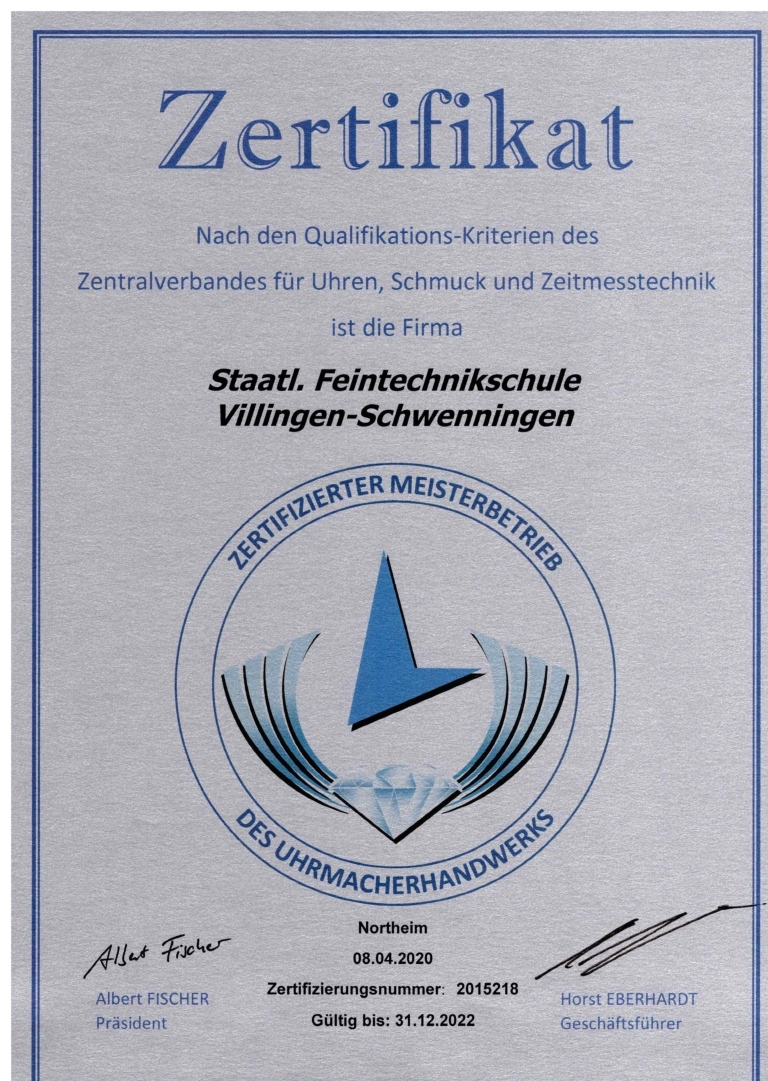 Zertifikat Meisterbetrieb Uhrmacher