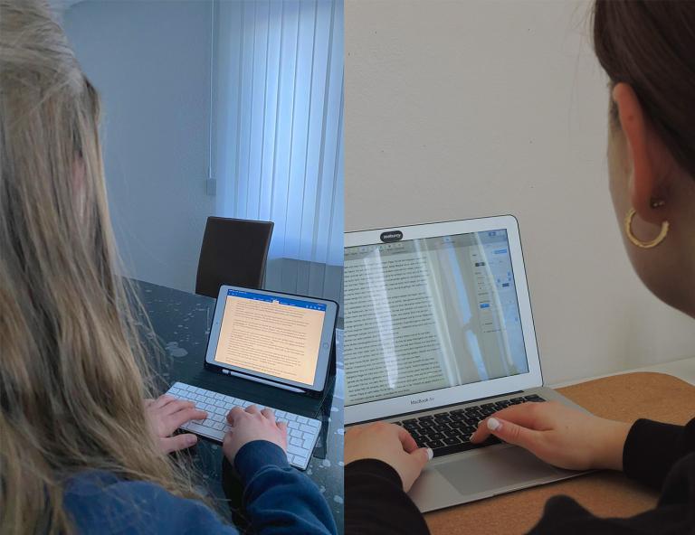 Engeles Friedrich und Anabelle Schneider beim Austausch über den Landeswettbewerb.